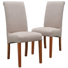 Upholstered Mission Walnut Dining Chairs (Set of 2)