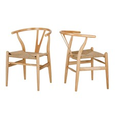 Natural Hans Wegner Replica Wishbone Chair (Set of 2)