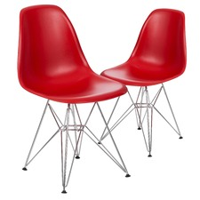 Matte Red Eames Replica DSR Eiffel Base Side Chair (Set of 2)