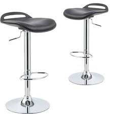 Black Cosmopolitan Adjustable Swivel Bar Stool (Set of 2)