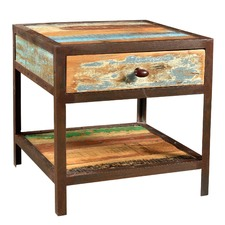 Industrial Side Table with Drawer