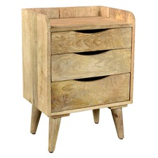 Normandy Industrial 3 Drawer Bedside Table