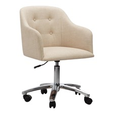 Keely Cream & Chrome Contemporary Home Office Chair