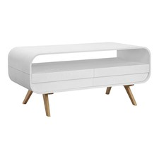 Maegan White & Ash Rounded Coffee Table