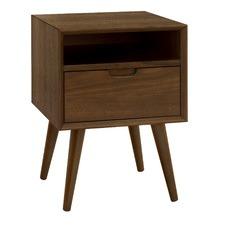 Olsen Walnut Square 1 Drawer Bedside Table