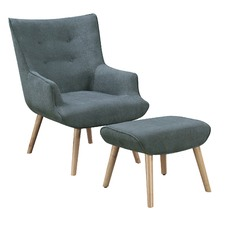Cosmic Denim Miles Armchair & Ottoman Set