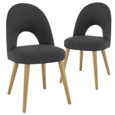 Dark Grey Neo Upholstered Dining Chairs with Natural Legs (Set of 2)