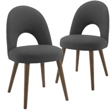 Dark Grey Neo Upholstered Dining Chairs with Walnut Legs (Set of 2)