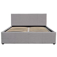 Light Grey Cruz Linen Gas Lift Storage Bed