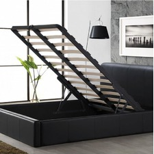 Black Diego PU Leather Gas Lift Storage Bed