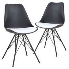 Eames Style Black & White Dining Chairs (Set of 2)