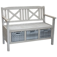 Grey Washed Barbados 2 Seater Outdoor Bench