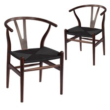 Walnut & Black Hans Wegner Replica Wishbone Chair (Set of 2)