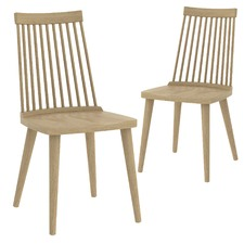 Oak Spindle Retro Dining Chairs (Set of 2)