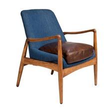 Brown Leather & Denim Demi Armchair