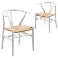 White & Natural Replica Hans Wegner Wishbone Chairs (Set of 2)