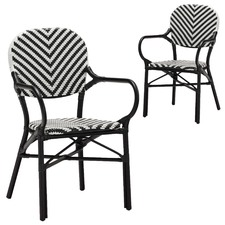 Black Paris Wicker Cafe Arm Chair (Set of 2)