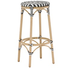 Paris Wicker Cafe Bar Stool - Black & White