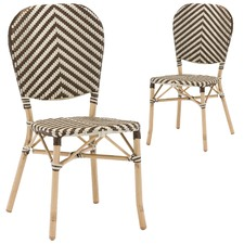 Paris Wicker Cafe Dining Chair - Brown & White (Set of 2)