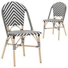 Black & White Paris Faux Wicker Cafe Dining Chairs (Set of 2)