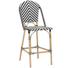 64cm  Paris PE Rattan Cafe High Back Barstool