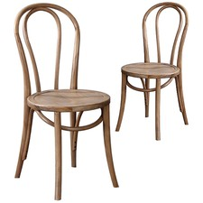Rustic Oak Thonet Replica Bentwood Chairs (Set of 2)