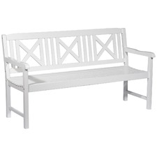 Santa Cruz White 3 Seater Outdoor Timber Bench