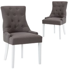 White & Grey Eastwood Scoop Back Dining Chair (Set of 2)