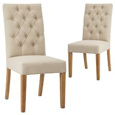 Bromley Linen & Pine Wood Dining Chair (Set of 2)