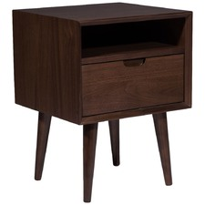 Olsen Walnut Square 1 Drawer Scandinavian Style Bedside Table