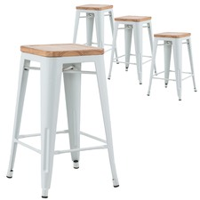 Xavier Pauchard Premium Replica Tolix Bar Stool with Timber Seat (Set of 4)