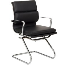 Eames Premium Leather Replica Soft Pad Management Visitor Chair