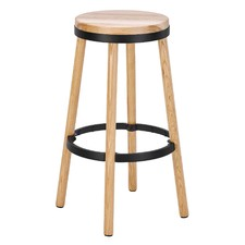 76cm Brooklyn Ash Wood & Metal Barstool