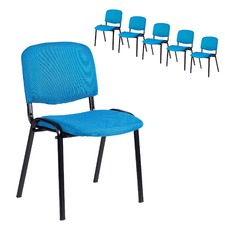 Blue Stackable Office Conference Chairs (Set of 6)