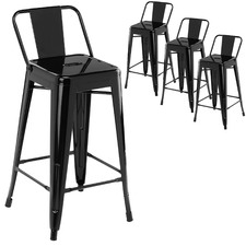 66cm Tolix Replica Barstool with Backrest (Set of 4)