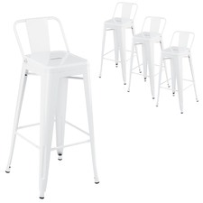 76cm Tolix Replica Barstool with Backrest (Set of 4)