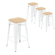 Tolix Replica 65cm Bar Stools with Timber Seat (Set of 4)