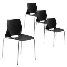Black Sustain Stackable Office Conference Chairs (Set of 4)