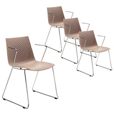 Taupe Laser Stackable Conference Office Chairs (Set of 4)