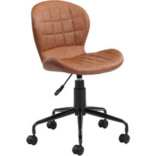 Brown Aviator Faux Leather Home Office Chair