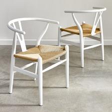 White & Natural Hans Wegner Replica Wishbone Chairs (Set of 2)