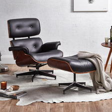 Eames Replica Leather Lounge Chair & Ottoman