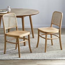 Hoffmann Replica Beech Wood & Rattan Dining Side Chairs (Set of 2)