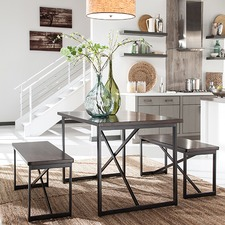 Dark Brown Joring Dining Table & Bench Set (Set of 3)