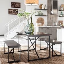 Dark Brown Joring Dining Table & Bench Set