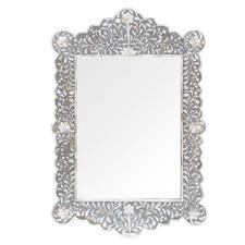 Grey Sinjon Scalloped Shell Inlay Mirror
