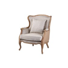 French Country Linen Wingback Armchair