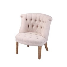 French Country Tufted Linen Tub Chair