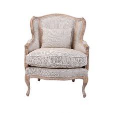 French Country High Back Wing Armchair