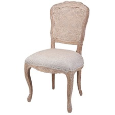 French Country Linen Dining Chair With Rattan Back (Set of 2)